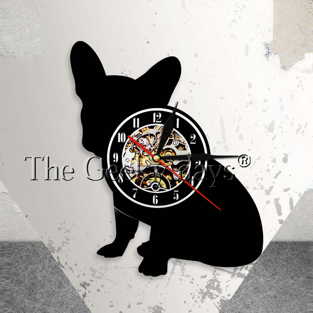 French Bulldog Wall Clock Franco the Dog Breed Frenchie Dog Vinyl Record Wall Clock Puppy Pet Home Decor Dog Silhouette Clock