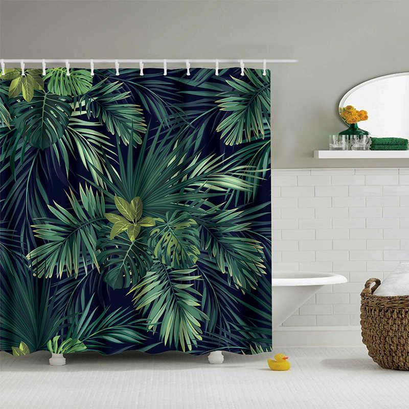 Urijk 1 шт. зеленые тропические растения занавески для душа s Для Ванной Комнаты Водонепроницаемый полиэстер ткань для ванной занавески банановые листья печать