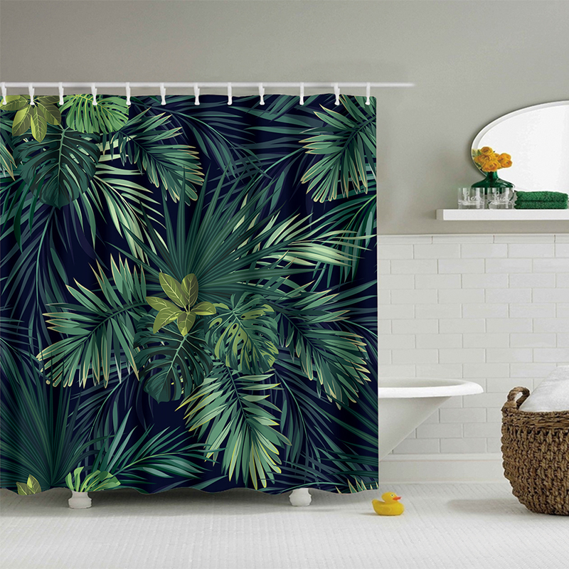Urijk 1PC Green Tropical Plants Shower Curtains for Bathroom Waterproof Polyester Fabric Bath Curtain Banana Leaves Printing