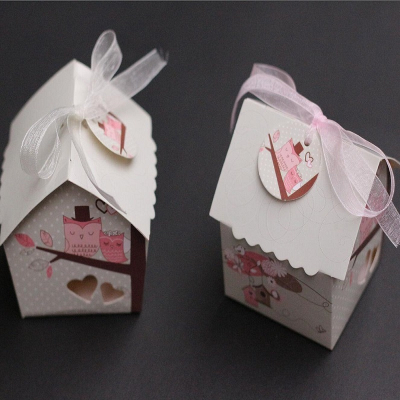 Mini Bird House Candy Box Candy Cookie Gift Boxes With Ribbon For Guests Wedding Favors And Gifts Party Decorations
