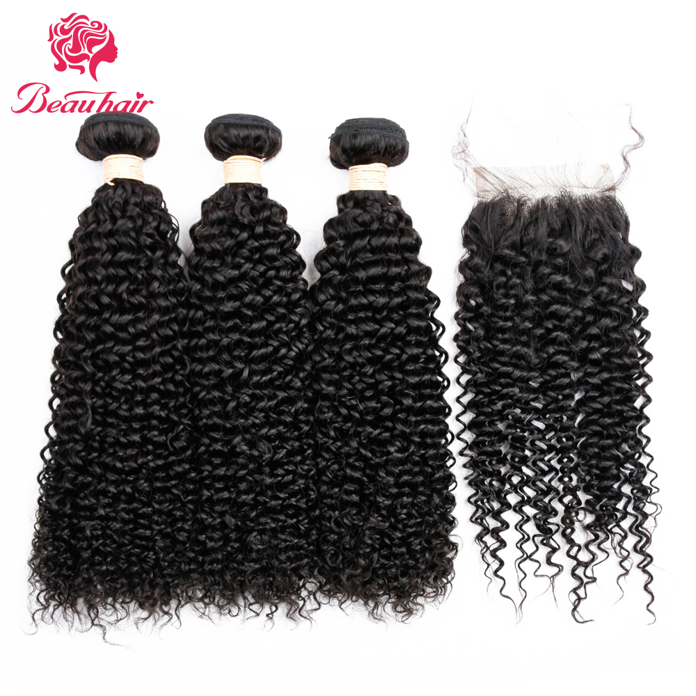 Beau Hair Malaysian Kinky Curly Hair Bundles with Closure 3 Bundles Human Hair With Closure 4x4 Non Remy Free Part