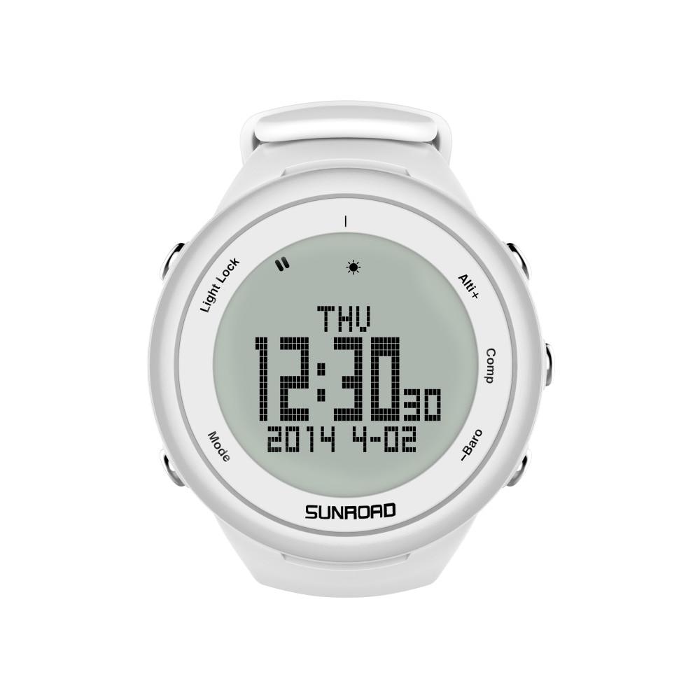 SUNROAD FR852A Climbing Watch  Pedometer Barometer Altimeter Compass Backlight Waterproof Digital Smart Sports Watch (White)