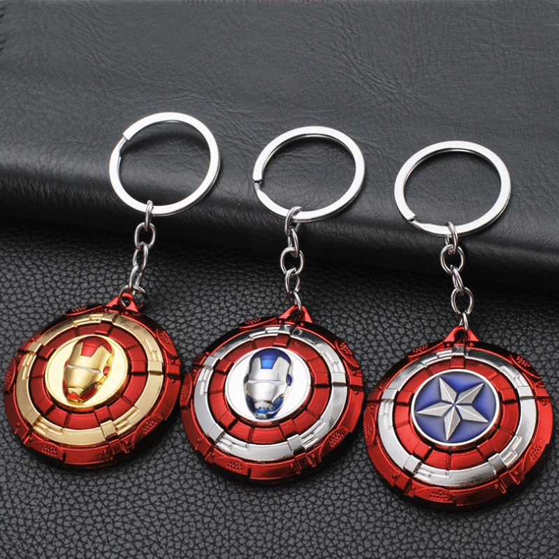 Avengers Endgame Captain America Keychain Cosplay Props Alloy Rotate Key Chain Unisex Car Keyring Iron Man Accessories