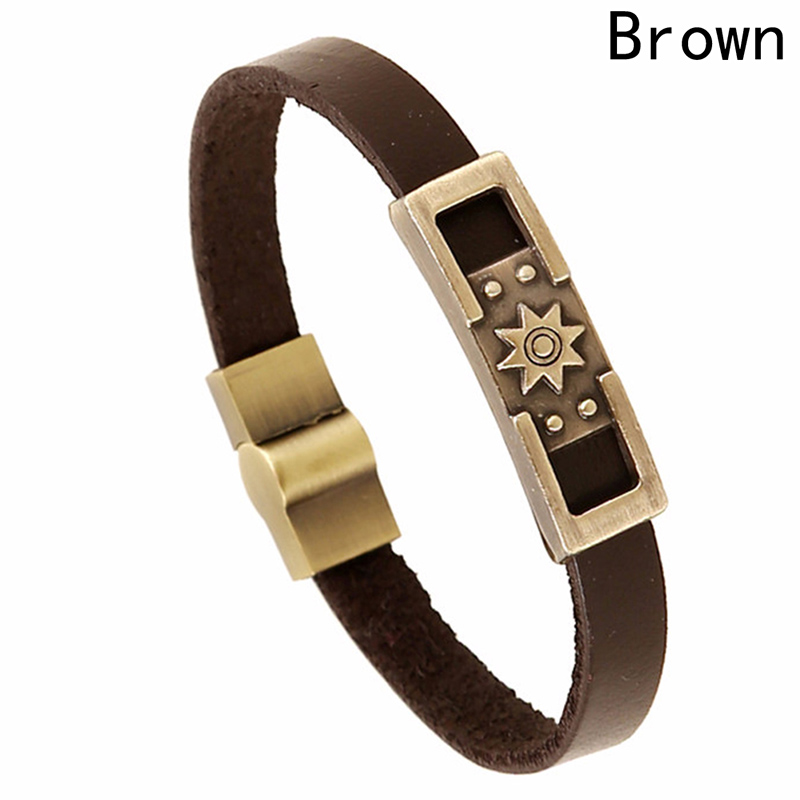 2018 Wholesale Mens Bangle Leather Bracelet Archaize copper metal bracelet Top Selling Vintage - Brown color