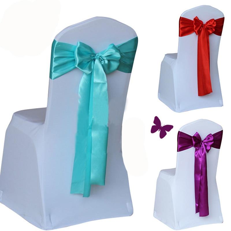 Wholesale 100pcs lot Wedding Chair Cover Sash Bow Tie Ribbon Decoration Wedding Party Supplies 14 Color