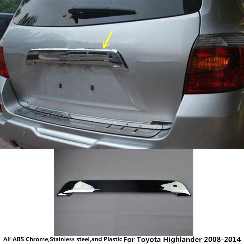 Car Rear door License tailgate bumper frame plate trim lamp trunk 1pcs for Toyota Highlander 2008 2009 2010 2011 2012 2013 2014