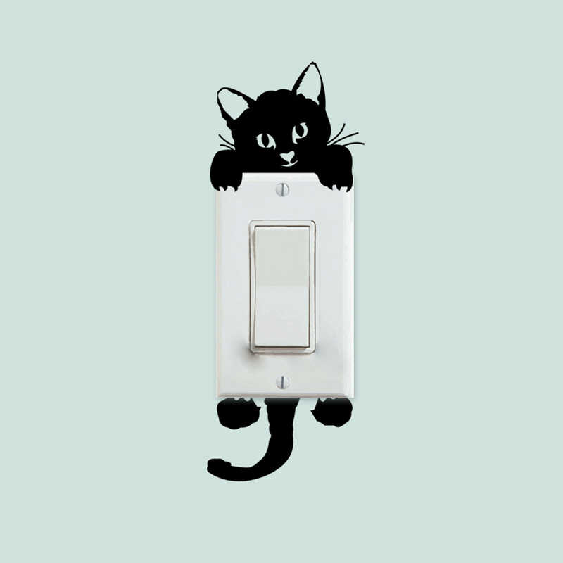 Leuke Kat Muurstickers Lichtschakelaar Decor Decals Art Mural Baby Kinderkamer Kitten schakelaar foto behang 3D Muurstickers