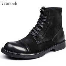 Fashion New Handmade Ankle Boots Men Genuine Leather Work Boots Lace Up Motorcycle Boots Shoes Man men0065 цена 2017