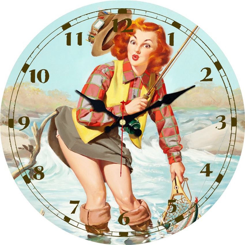MEISTAR Vintage Round Clocks Figure Woman Design Silent Living Study Office Kitchen Decor Wall Art Watches Vintage Large Clock in Wall Clocks from Home Garden