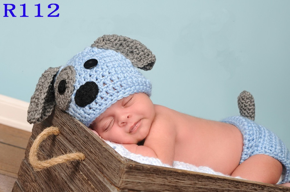 free shipping cute handmade crochet newborn dog puppy hat with matching diaper cover 2pcs baby. Black Bedroom Furniture Sets. Home Design Ideas