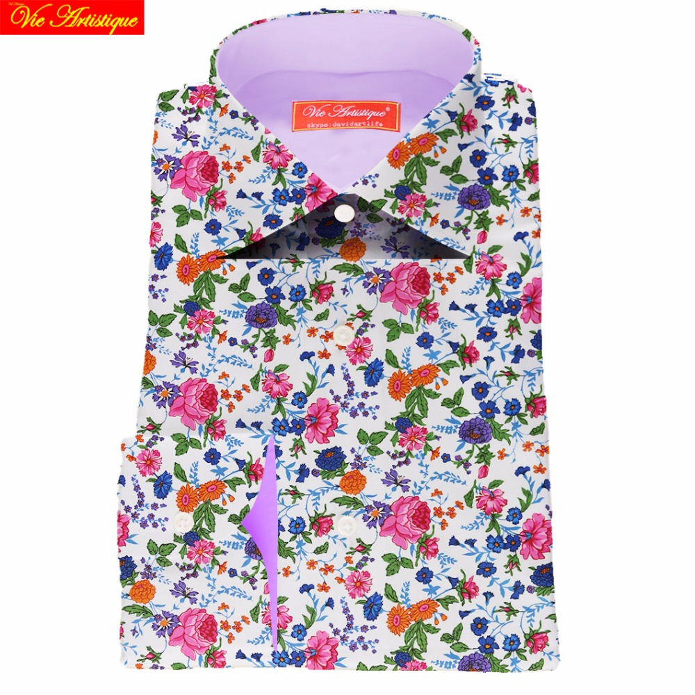 021084fc11c 2018 Camiseta Masculina Shirts Dress Shirt Printed Men Flower Designer s  Casual Slim Fit Oversize Liberty Bespoke Tailored Mtm