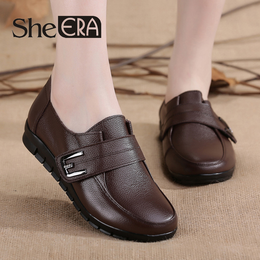 2018 Women Genuine Leather Shoes Women Sneakers Creepers Cutouts Slip on Soft Bottom Flats Moccasins Shoes Woman
