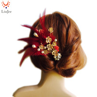 New Arrival Feather Hair Clips Bridal Wedding Gold Tiaras Pearls Flower Hairpins Headwear Jewelry For Women
