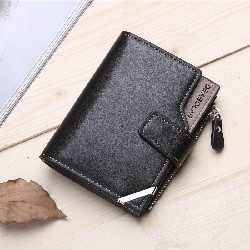 men High-capacity short business wallets,black coffee color casual wallet with coin pocket card position passport photo window .