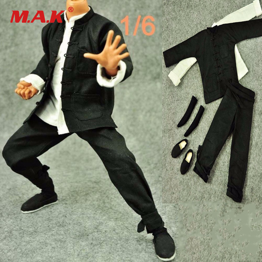 1/6 Scale Male Clothes Traditional Long-Sleeved Costume Black Suit Kung Fu Suit Shirt for 12 Man Action Figure