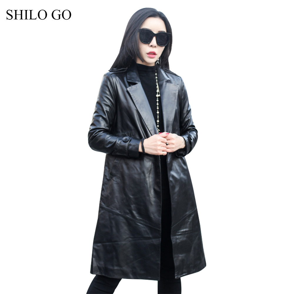 SHILO GO Leather   Trench   Womens Spring Fashion sheepskin genuine leather Long Coat lapel collar single button office lady A Line