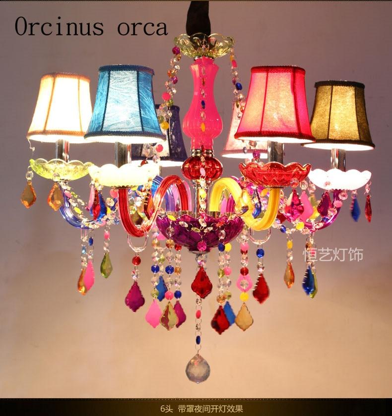 Color Decorative Candle Chandelier Crystal Lamp K9 European Childrens Room Girls Room Creative Bedroom Dining Room Chandelier Neither Too Hard Nor Too Soft Chandeliers Lights & Lighting
