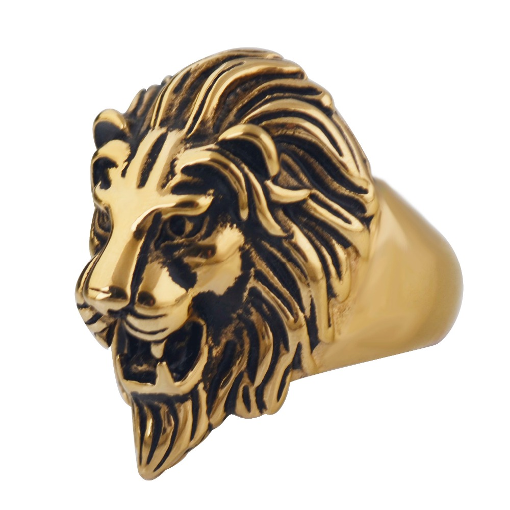 1pc!! Men's Big Cool Punk Lion Head King face Ring ,316L Stainless Steel fashion Vintage finger ring,party jewelry