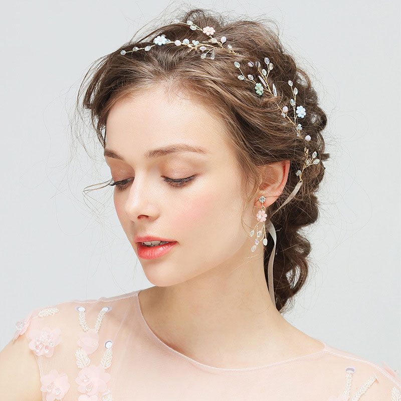 Wedding Hairstyle With Headband: Romantic Bridal Hair Vine With Earrings Colorful Floral