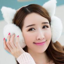 Women fur earmuffs Autumn Winter Cute Earmuffs Warm  Cat ears women's sweatshirt with ears headphones Woolen earmuffs