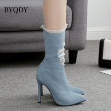 BYQDY 2018 New Fashion Autumn Mid Calf Women Booties Shoes Zip Pointed Toe Thin Heel Denim Rubber Sole Ladies Party Boots