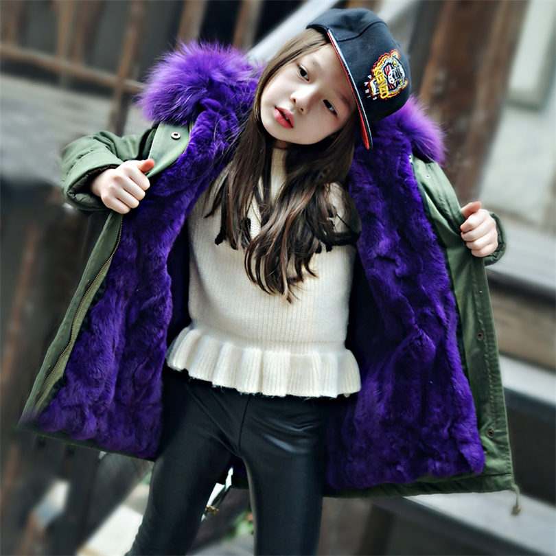 2017 Children Real Rabbit Fur Coat Outwear Kids Girls  Boys Winter Natural 100% Rex Rabbit Fur Long Warm Jacket Coat for Girls new winter girls boys hooded cotton jacket kids thick warm coat rex rabbit hair super large raccoon fur collar jacket 17n1120