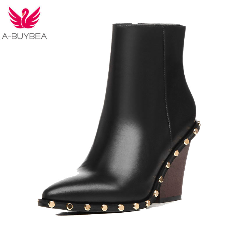 Genuine Leather Ankle Boots For Women Luxury Brand Gold Rivet High Heel Women Boots Leather Women Autunm/Winter black BootsGenuine Leather Ankle Boots For Women Luxury Brand Gold Rivet High Heel Women Boots Leather Women Autunm/Winter black Boots