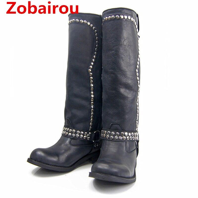 Zobairou Botas Cuero Negro fur Rodilla Vaquero Lluvia Flats Zapatos As Alto  Muslo Genuino Picture Sobre Celebrity Mujer ... 87141e86c633