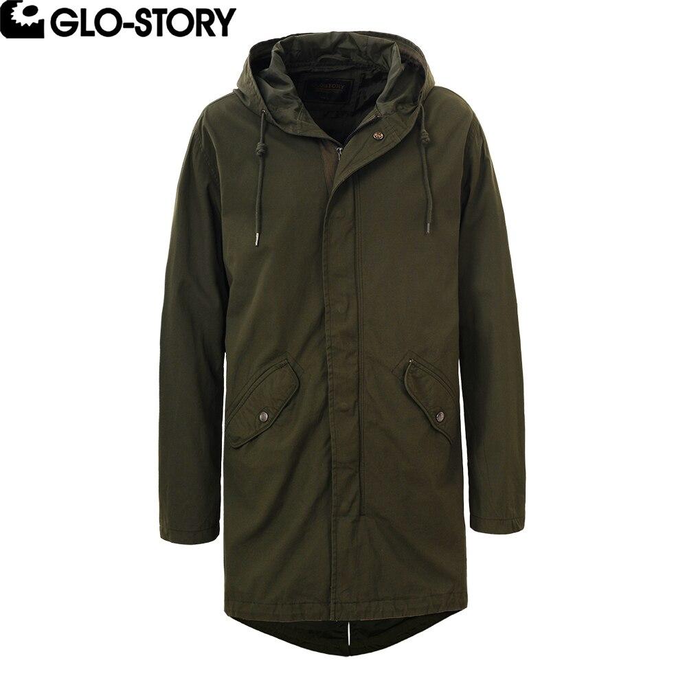 GLO STORY mens 기본 롱 코튼 트렌치 코트 남성 2018 봄 캐주얼 조절 허리 streetwear jacket coats MSX 3791-에서트렌치부터 남성 의류 의  그룹 1