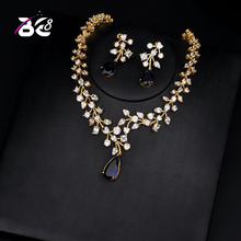 Be 8 Charm Blue Water Drop Dubai Jewelry Sets Gold Color Wedding Necklace Earrings Sets Bijoux Bijoux Mariage S135
