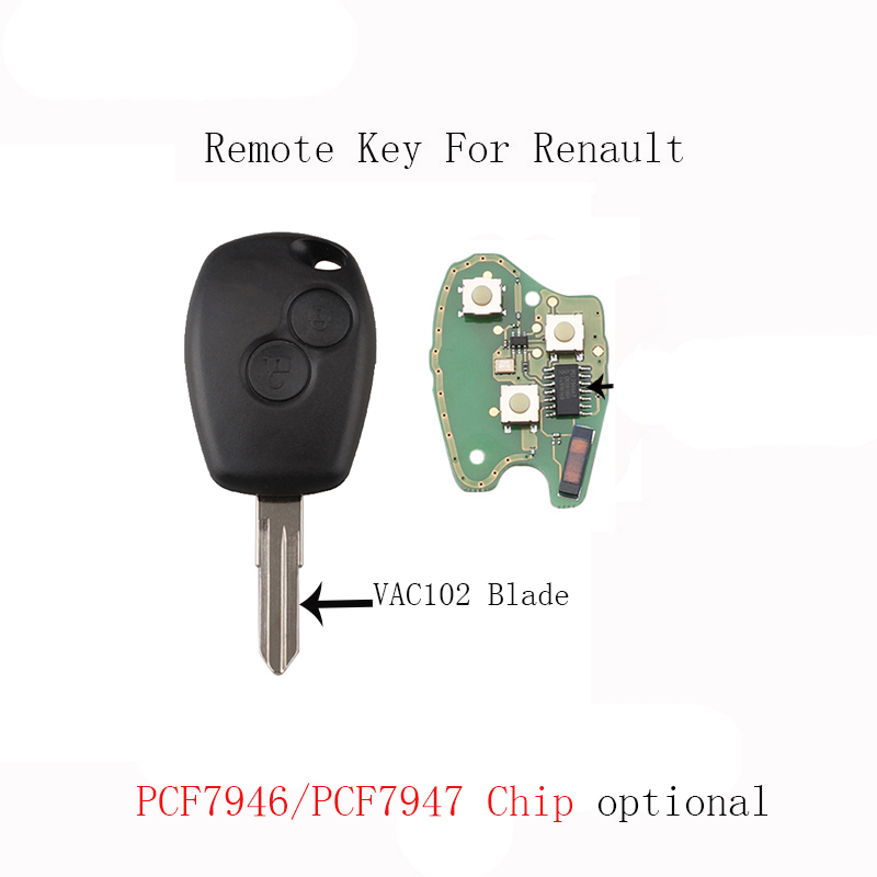 2Buttons <font><b>Remote</b></font> Car <font><b>key</b></font> <font><b>For</b></font> <font><b>Renault</b></font> <font><b>Megane</b></font> Modus Clio Kangoo Logan Sandero Transponder Chip PCF7946/PCF7947 optional image