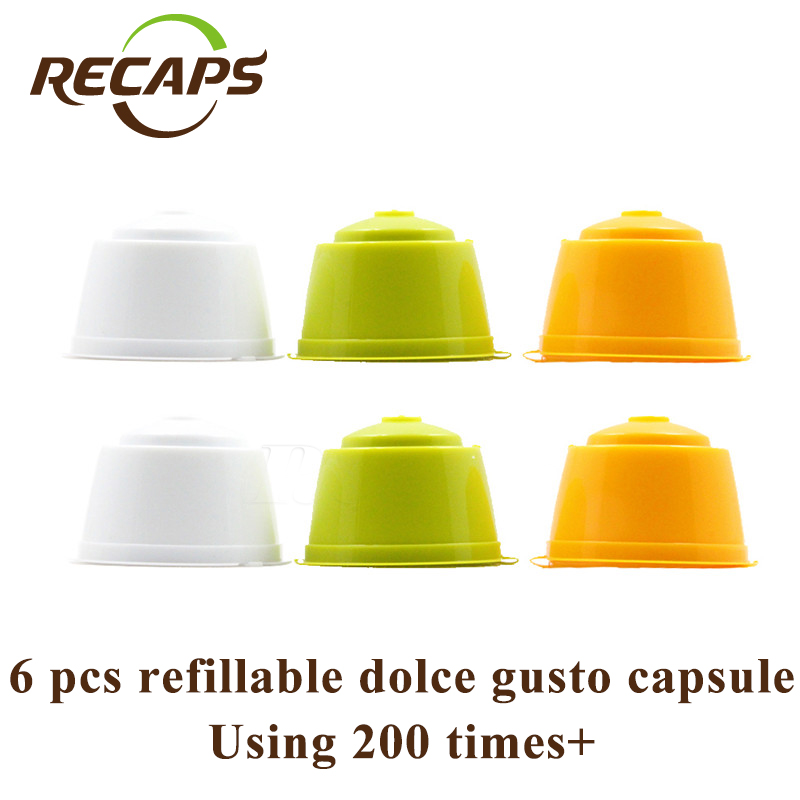 RECAPS BPA Free 6 st / Pack Refillable Återanvändbar Refill Kaffekapsel Pod för Nescafe Dolce Gusto Machines Brewer Makers