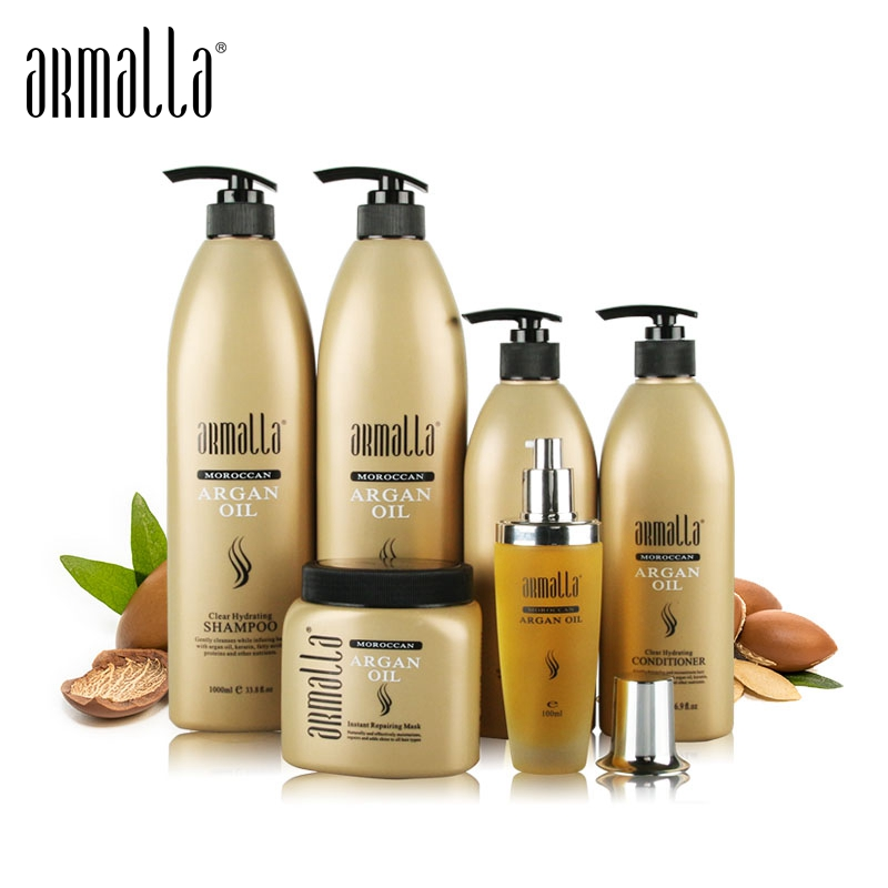 6pcs Superior Professional Natural Treatment Moisturzing Dry Anti-Itching&Smooth Armalla Moroccan Argan Oil Hair Care Set