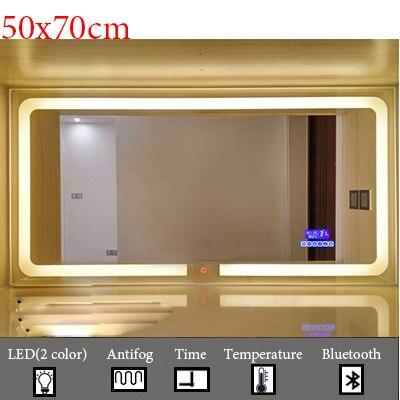 Умный светодиодный Зеркало для туалетной комнаты, анти-туман, сенсорный экран, настенное зеркало для макияжа, 700*900 мм, прямоугольные зеркальные зеркала с Bluetooth и музыкой - Цвет: M022C-500x700mm