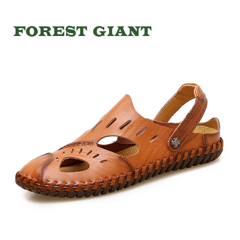 FOREST GIANT Summer Men Sandals Genuine Cow Leather, Breathable Slides Male Sandals Mules, Outdoor Beach Shoes Sandals 19004