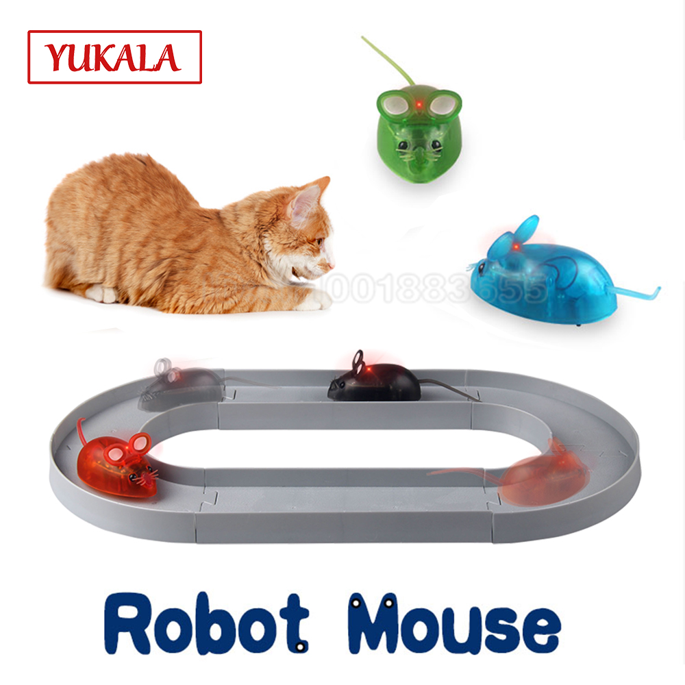 Robot Mouse Toys For Cats Playing Game Funny Track Rail With LED Light 4 Color Electronic Battery Kids For Children Gift