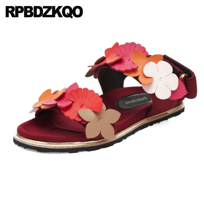 15aac7f5f5b0 Pink Kawaii Shoes Embellished Flower Rainbow Flat Designer Sandals Women  Luxury 2017 Strap Genuine Leather High