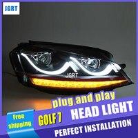 Car Styling VW Golf7 phares 2013-2015 VW Golf 7 led phare flash clignotants drl H7 hid Bi-xénon Lentille à faible faisceau
