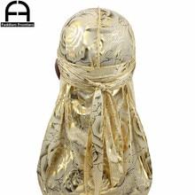 Unisex Floral Print Men Women Silk Durag Summer Breathable Long Tail Bandanas Hat Do Du Rags Hair Cover Waves Cap