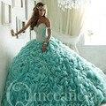 Princesa Grande Floal Plisado Vestidos de Quinceañera con Crystal Tren Rebordear Novia Vestido de Debutante vestidos de fiesta para 15 anos