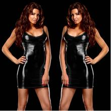 PU Leather Sexy Bodycon Dresses Woman Party Night Club Wear 2019 Summer Dress 9 color Mini Bandage Shiny