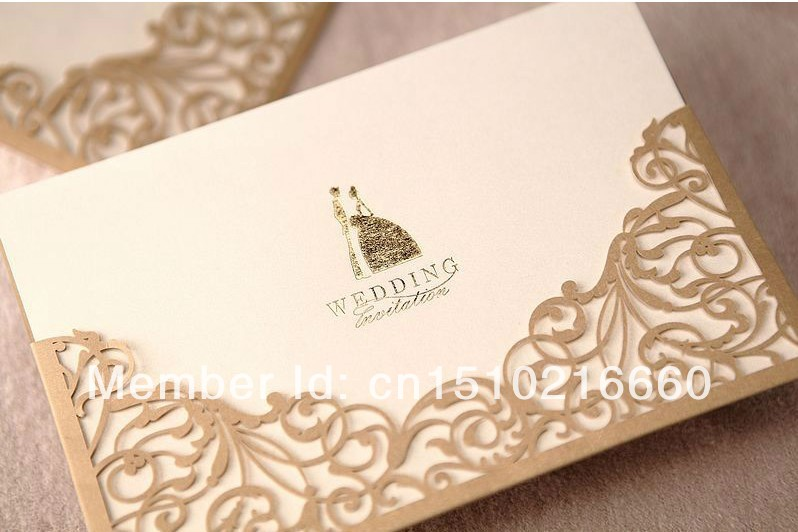 Free shipping 30pcs gold lace cut out wedding invitation card free shipping 30pcs gold lace cut out wedding invitation card wedding greeting cardwedding party decoration suppliesdiy card in cards invitations from stopboris Images