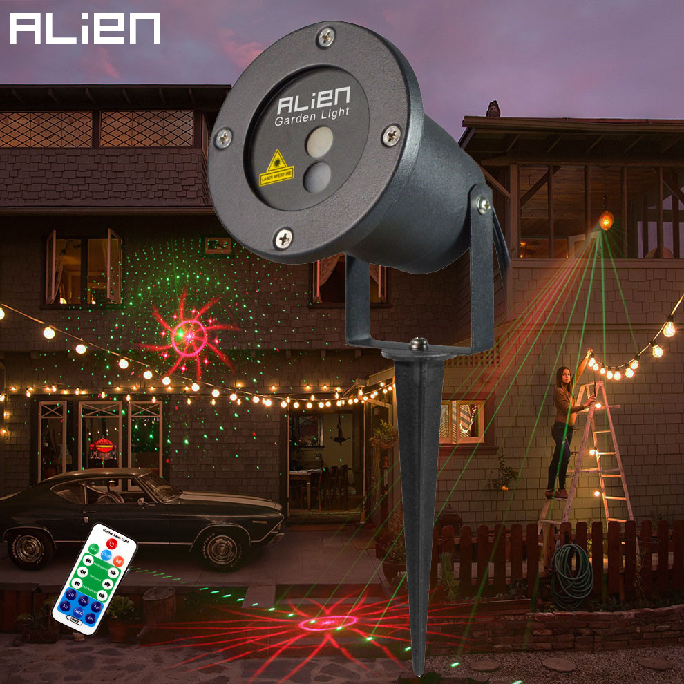 Waterproof Xmas 8 Patterns Red Green Laser Landscape Lighting For Outdoor Garden Party Holiday Christmas Tree Decorations Lights