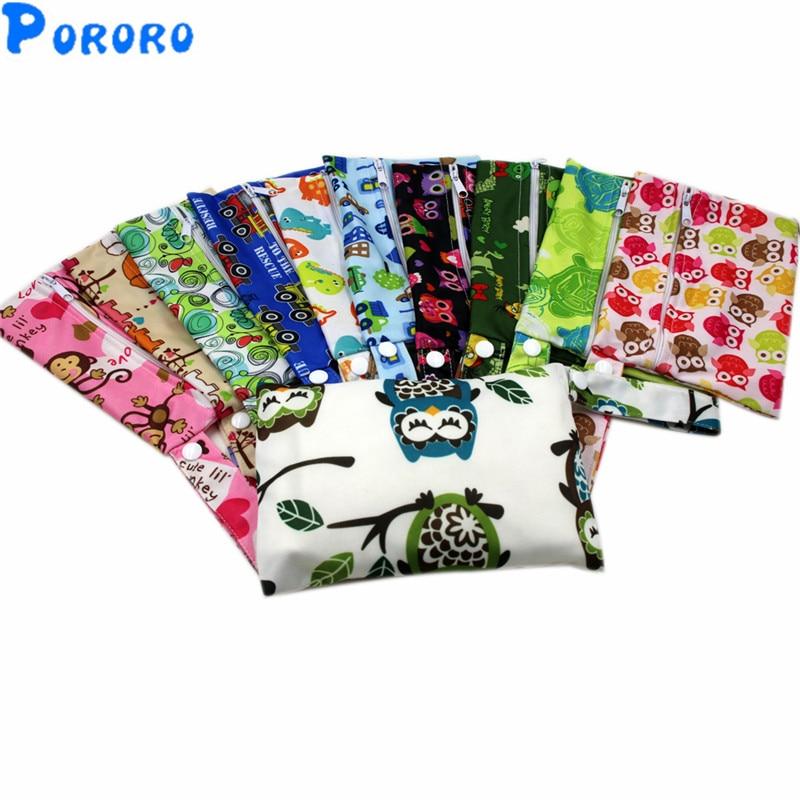 10Pcs/lot  PUL Wet Bag Baby Waterproof Cloth Diaper Bag Pocket Zipper Print Reusable Baby Nappy Diaper Wet Bags 14x20cm