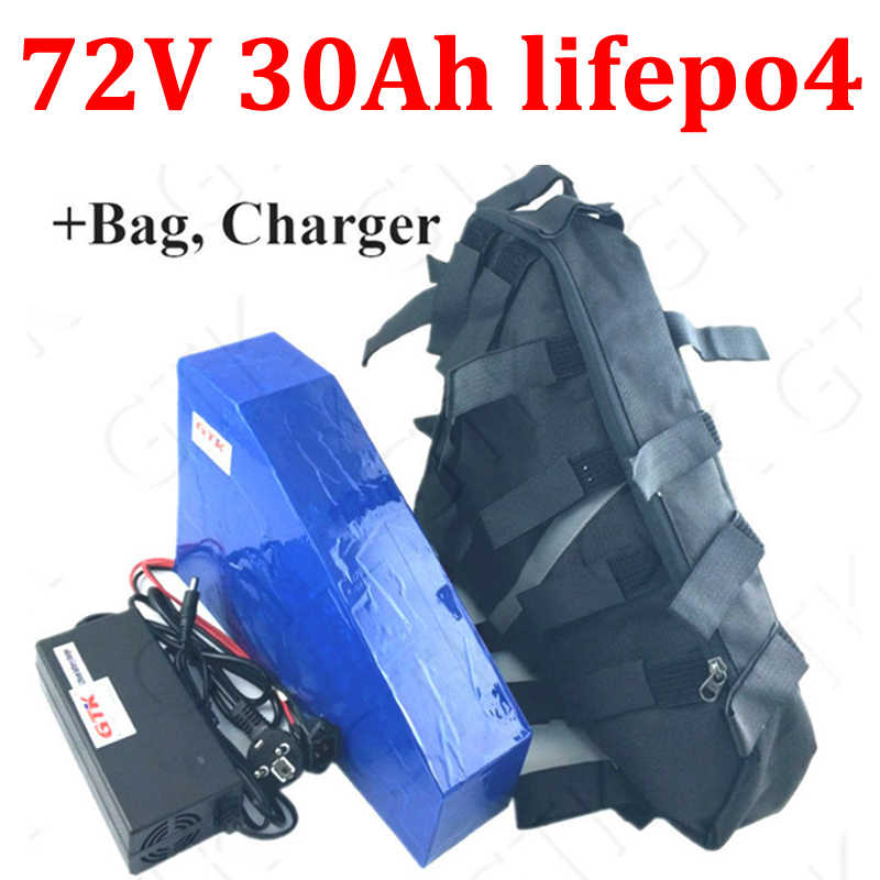 GTK 72v 30ah lifepo4 triangle battery with BMS no li ion for 72v 1500w 4000w electric bicycle bike scooter +5A charger + bag