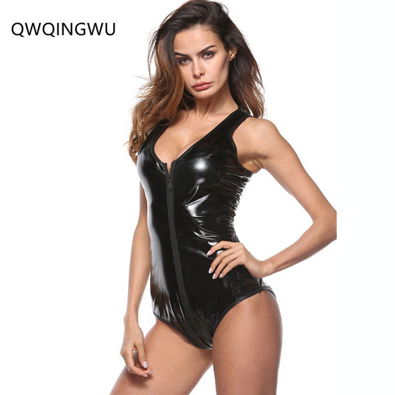 New Sexy Bodysuit Sleeveless Black Red Faux Leather Summer   Jumpsuit     Jumpsuits   for Women Spandex Bodysuit Close-Fitting Rompers