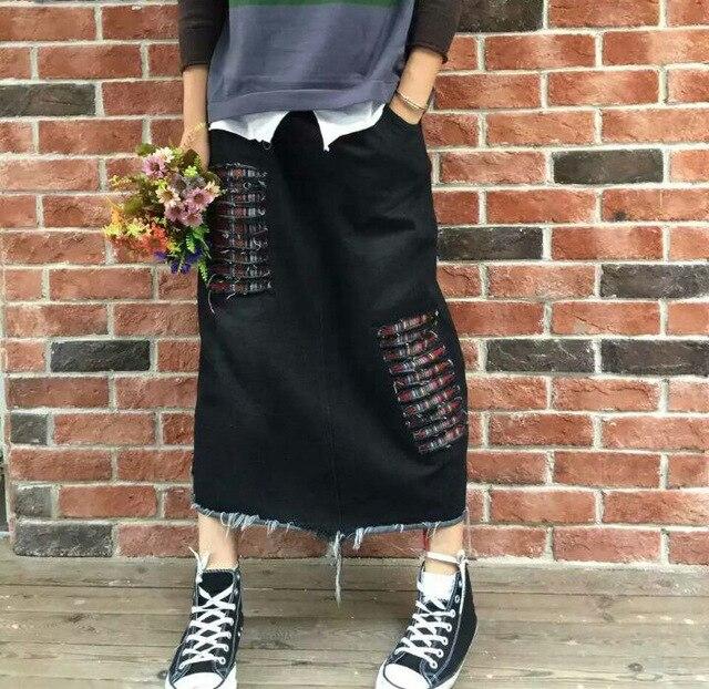 Mujeres retro personalidad agujero denim faldas mujer vintage ripped denim casual faldas falda de la manera