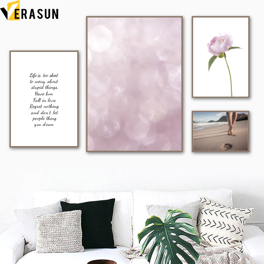 Flower Beach Footprint Quote Scandinavian Nordic Posters And Prints Wall Art Canvas Painting Wall Pictures For Living Room Decor in Painting Calligraphy from Home Garden