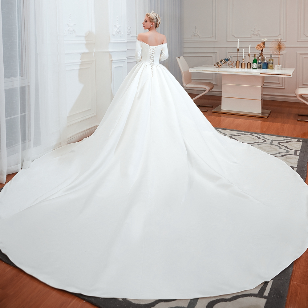 Cathedral Wedding Dresses 2019 White Off Shoulder Ball Gown Satin Three Quarter Sleeves 3 4 Simple Bridal Gowns Walk Beside You in Wedding Dresses from Weddings Events