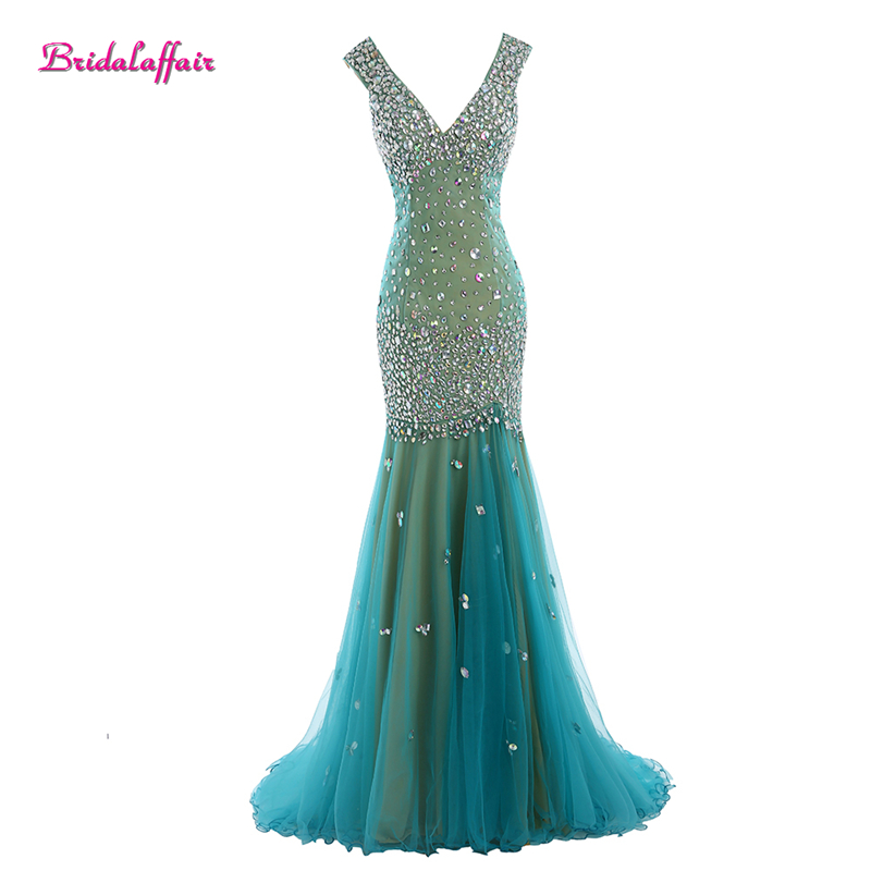 BridalaffairReal Photo Green Tulle Luxury Beads and Crystal Deep V Neck Mermaid   Prom     Dresses   2017 Sweep Train Party Evening Gown